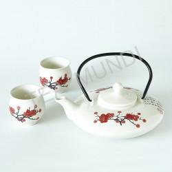 Juego de té flor roja (tetera y 2 tazas)