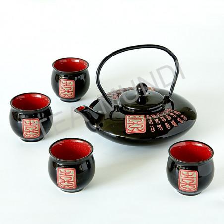 Juego de té negro y rojo (tetera y 4 tazas)